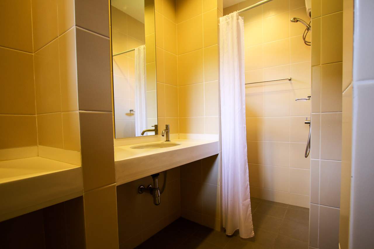 Shower area in a standard room in the new hotels