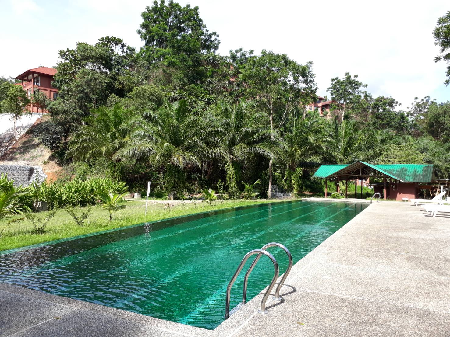 The outdoor swimming pool is located down the hill and by the farmland.